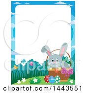 Clipart Of A Border Of A Gray Easter Bunny Rabbit In A Basket Royalty Free Vector Illustration