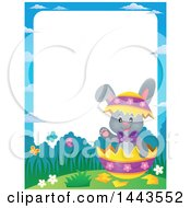 Clipart Of A Border Of A Gray Easter Bunny Rabbit In A Cracked Decorated Egg Shell Royalty Free Vector Illustration by visekart