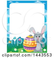 Clipart Of A Border Of A Gray Easter Bunny Rabbit With A Decorated Egg Royalty Free Vector Illustration by visekart