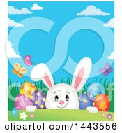 White Easter Bunny Rabbit Peeking Over A Hill With Butterflies And Decorated Eggs