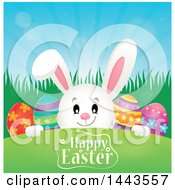 White Bunny Rabbit Peeking Over A Hill With Eggs And Happy Easter Text
