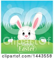 White Easter Bunny Rabbit Peeking Over A Hill With Happy Easter Text