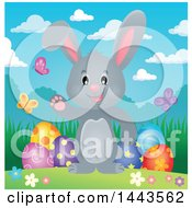 Gray Easter Bunny Rabbit Waving By Decorated Eggs