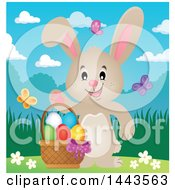 Clipart Of A Beige Bunny Rabbit Waving By An Easter Basket With Butterflies Royalty Free Vector Illustration