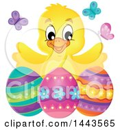 Clipart Of A Happy Yellow Chick With Easter Eggs And Butterflies Royalty Free Vector Illustration