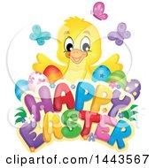 Clipart Of A Yellow Chick With Eggs And Butterflies Over Happy Easter Text Royalty Free Vector Illustration