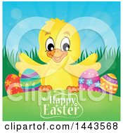 Clipart Of A Yellow Chick With Eggs Over A Happy Easter Greeting Royalty Free Vector Illustration by visekart