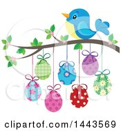 Clipart Of A Blue Bird On A Branch With Hanging Easter Eggs Royalty Free Vector Illustration