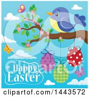 Bird On A Branch With Hanging Eggs Butterflies Blossoms And Happy Easter Text