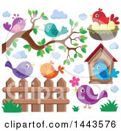 Clipart Of Colorful Birds Royalty Free Vector Illustration by visekart