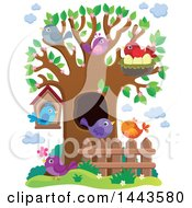 Clipart Of A Busy Spring Tree With Birds Royalty Free Vector Illustration