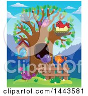 Clipart Of A Spring Tree With Birds Royalty Free Vector Illustration