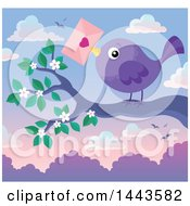 Poster, Art Print Of Purple Bird Holding A Valentine Envelope On A Branch At Sunset