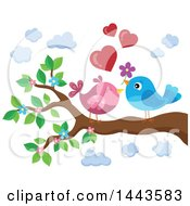 Poster, Art Print Of Love Bird Valentine Couple With Hearts And A Flower On A Branch