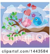 Poster, Art Print Of Love Bird Valentine Couple With Hearts And A Flower On A Branch At Sunset