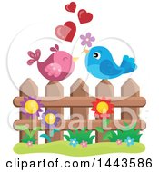 Poster, Art Print Of Love Bird Valentine Couple With Hearts And A Flower On A Fence