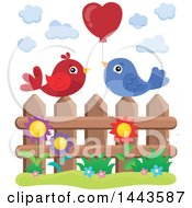 Poster, Art Print Of Love Bird Valentine Couple With A Heart Balloon On A Fence