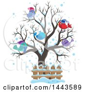 Clipart Of A Bare Winter Tree With Busy Birds Royalty Free Vector Illustration by visekart