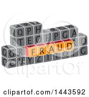 Clipart Of A Highlighted Word Fraud In Alphabet Letter Blocks Royalty Free Vector Illustration