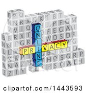 Clipart Of Highlighted Words Online Privacy In Alphabet Letter Blocks Royalty Free Vector Illustration
