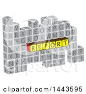 Clipart Of A Highlighted Word Report In Alphabet Letter Blocks Royalty Free Vector Illustration