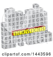 Clipart Of A Highlighted Word Services In Alphabet Letter Blocks Royalty Free Vector Illustration by ColorMagic