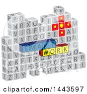 Clipart Of Highlighted Words Smart Work In Alphabet Letter Blocks Royalty Free Vector Illustration