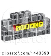Clipart Of A Highlighted Word Survey In Alphabet Letter Blocks Royalty Free Vector Illustration