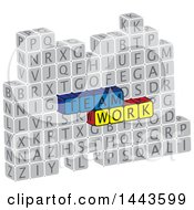 Clipart Of Highlighted Words Team Work In Alphabet Letter Blocks Royalty Free Vector Illustration
