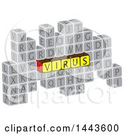 Clipart Of A Highlighted Word Virus In Alphabet Letter Blocks Royalty Free Vector Illustration