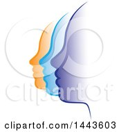 Clipart Of A Row Of Profiled Purple Blue And Orange Female Faces Royalty Free Vector Illustration by ColorMagic