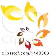 Clipart Of A Spiral Of Colorful Birds Royalty Free Vector Illustration