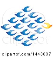 Clipart Of A Diamond Of Blue Birds Flying In One Directiona Nd A Yellow Bird Flying In The Opposite Direction Royalty Free Vector Illustration by ColorMagic