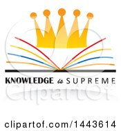 Clipart Of A Crown Open Book And Knowledge Is Surpreme Design Royalty Free Vector Illustration by ColorMagic