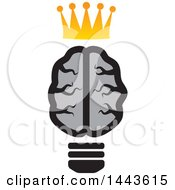 Clipart Of A Gray Human Brain Lightbulb With A Crown Royalty Free Vector Illustration by ColorMagic