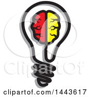 Clipart Of A Brain In A Lightbulb Royalty Free Vector Illustration by ColorMagic