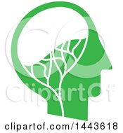 Clipart Of A Profiled Green Mans Head With A Visible Brain Royalty Free Vector Illustration by ColorMagic