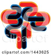 Clipart Of A Red Blue And Black Abstract Brain Royalty Free Vector Illustration by ColorMagic