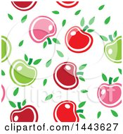 Clipart Of A Seamless Background Pattern Of Red Green And Pink Apples And Leaves Royalty Free Vector Illustration