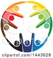 Clipart Of A Circle Of Colorful Cheering People Royalty Free Vector Illustration