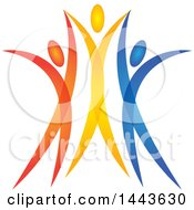 Clipart Of A Group Of Colorful Cheering People Royalty Free Vector Illustration