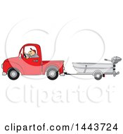 Caucasian Man Driving A Red Pickup Truck And Hauling A Boat