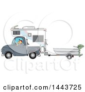Caucasian Man Driving A Pickup Truck With A Camper And Hauling A Boat