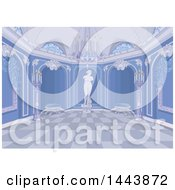Clipart Of A Blue Palace Interior Royalty Free Vector Illustration