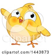 Clipart Of A Chubby Yellow Chick Presenting Royalty Free Vector Illustration by Pushkin