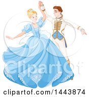 Clipart Of Cinderella Dancing With Her Prince Royalty Free Vector Illustration