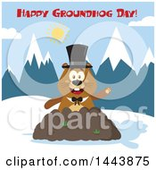 Clipart Of A Flat Styled Groundhog Mascot Wearing A Top Hat And Waving In A Pile Of Dirt In The Mountains With Text Royalty Free Vector Illustration