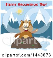 Clipart Of A Flat Styled Groundhog Mascot Waving In A Pile Of Dirt In The Mountains With Text Royalty Free Vector Illustration