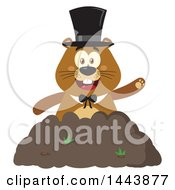 Clipart Of A Flat Styled Groundhog Mascot Wearing A Top Hat And Waving In A Pile Of Dirt Royalty Free Vector Illustration by Hit Toon
