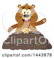 Clipart Of A Flat Styled Groundhog Mascot Waving In A Pile Of Dirt Royalty Free Vector Illustration